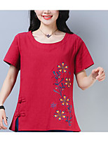 cheap -Women's Butterfly Sleeve Cotton T-shirt - Solid Colored Tassel