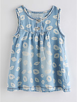cheap -Girl's Daily Print Dress Summer Cute Basic Blue