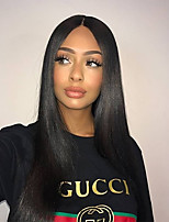 cheap -Remy Human Hair Wig Brazilian Hair Straight 150% Density With Baby Hair With Bleached Knots Natural Hairline Short Long Mid Length Women's