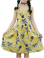 cheap -Girl's Daily Holiday Floral Dress, Cotton Polyester Summer Sleeveless Active Boho Blue Yellow