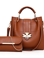cheap -Women's Bags PU Leather Bag Set 2 Pieces Purse Set Buttons for Office & Career Blushing Pink / Gray / Brown