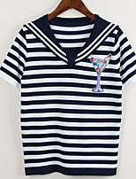 cheap -Women's Basic T-shirt - Striped Embroidered
