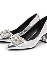 cheap -Women's Shoes PU(Polyurethane) Spring / Fall Basic Pump Heels Chunky Heel Pointed Toe Rhinestone / Imitation Pearl Silver