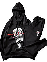 cheap -Men's Active Long Sleeves Activewear Set - Floral Hooded