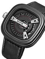 cheap -Men's Military Watch Japanese Calendar / date / day / Large Dial / Punk Genuine Leather Band Luxury Black