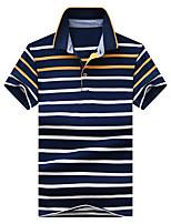 cheap -Men's Basic Street chic Polo - Striped Color Block