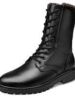 baratos -Mulheres Sapatos Couro Inverno Forro de peles / Conforto Botas Salto Baixo para Preto