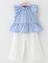 Недорогие -Девочки Повседневные Полоски Набор одежды, Полиэстер Лето Без рукавов Классический Светло-синий