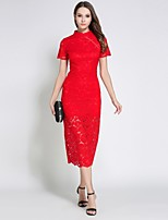 cheap -SHIHUATANG Women's Sophisticated Street chic Sheath Dress - Solid Colored Lace
