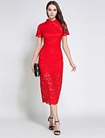 Недорогие -Жен. Изысканный Уличный стиль Оболочка Платье - Однотонный, Кружева Средней длины