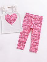 cheap -Girls' Daily Holiday Geometric Clothing Set, Cotton Summer Sleeveless Cute Blushing Pink