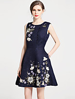 cheap -SHIHUATANG Women's Vintage Street chic A Line Dress - Floral, Embroidered