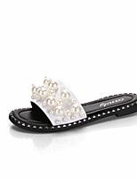 cheap -Women's Shoes PU Summer Comfort Slippers & Flip-Flops Flat Heel Round Toe Imitation Pearl for Casual White Black