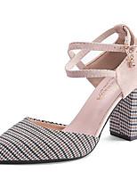 baratos -Mulheres Sapatos Couro Ecológico Verão Conforto Saltos Salto Robusto Dedo Apontado Pedrarias Preto / Rosa claro