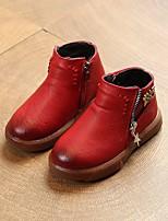 Недорогие -Девочки обувь Полиуретан Осень Зима Зимние сапоги Ботинки Ботинки для Повседневные Черный Коричневый Винный
