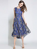 cheap -SHIHUATANG Women's Vintage Sophisticated A Line Swing Dress - Floral, Lace Embroidered