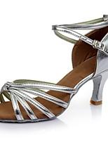 Недорогие -Жен. Обувь для латины Дерматин Сандалии / На каблуках Планка Каблуки на заказ Персонализируемая Танцевальная обувь Серебряный
