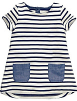 cheap -Girl's Daily Holiday Striped Dress, Cotton Polyester Summer Short Sleeves Basic White