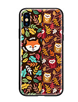 cheap -Case For Apple iPhone X iPhone 8 Pattern Back Cover Owl Animal Hard Tempered Glass for iPhone X iPhone 8 Plus iPhone 8 iPhone 7 iPhone 6s