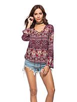 baratos -Mulheres Camiseta Básico Floral Geométrica