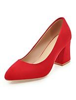 preiswerte -Damen Schuhe Nubukleder Frühling / Herbst Pumps High Heels Blockabsatz Spitze Zehe Beige / Rot / Rosa / Party & Festivität