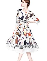 cheap -SHE IN SUN Women's Basic Street chic Swing Dress - Animal