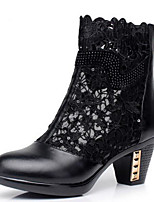 cheap -Women's Shoes Cowhide Spring Fall Fashion Boots Boots Chunky Heel Booties / Ankle Boots for Black