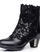 baratos -Mulheres Sapatos Pele Primavera Outono Botas da Moda Botas Salto Robusto Botas Curtas / Ankle para Preto