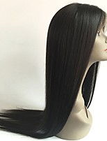 cheap -Virgin Human Hair Wig Peruvian Hair Straight Middle Part Layered Haircut 130% Density With Baby Hair Natural Hairline Black Short Long