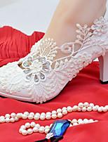 abordables -Femme Chaussures Dentelle Similicuir Printemps Automne Confort Chaussures de mariage Talon Aiguille Bout rond Strass Imitation Perle pour