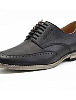 Недорогие -Муж. обувь Кожа Весна Осень Удобная обувь Туфли на шнуровке для Повседневные Черный