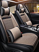 cheap -ODEER Headrests Waist Cushions Seat Covers Beige Textile PU Leather Common for universal All years All Models