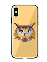 cheap -Case For Apple iPhone X iPhone 8 Pattern Back Cover Owl Hard Tempered Glass for iPhone X iPhone 8 Plus iPhone 8 iPhone 7 iPhone 6s Plus