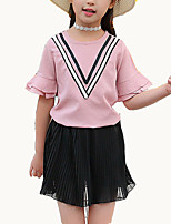 cheap -Girls' Holiday Color Block Clothing Set, Polyester Summer Short Sleeves Street chic White Lavender