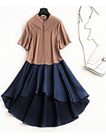 cheap -Miss French Women's Basic Street chic Butterfly Sleeve A Line Swing Dress - Color Block