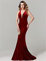 cheap -Mermaid / Trumpet Plunging Neckline Sweep / Brush Train Velvet Prom / Formal Evening Dress with Pleats by TS Couture®
