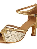 cheap -Women's Latin Sparkling Glitter Paillette Leatherette Heel Party Training Sequin Buckle Cuban Heel Gold 2 - 2 3/4inch Customizable