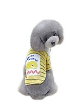 cheap -Dogs Jumpsuit Dress T-shirts Dog Clothes Slogan Cartoon Yellow Green Padded Fabric Cotton / Polyester Costume For Pets Stylish Sweet Style