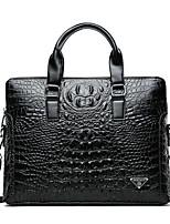 cheap -Men's Bags Genuine Leather Evening Bag Zipper Black