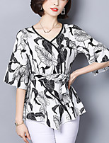 cheap -Women's Street chic Blouse - Floral, Ruffle