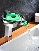 cheap -Bathroom Sink Faucet - Waterfall Touch / Touchless LED Chrome Vessel Single Handle One Hole