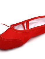 abordables -Femme Chaussures de Ballet Toile / Croûte de Cuir Plate Fantaisie Talon Plat Personnalisables Chaussures de danse Rouge
