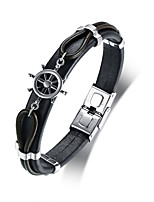 preiswerte -Herrn Leder Lederarmbänder - Freizeit Modisch Cool Kreisform Schwarz Armbänder Für Alltag Schultaschen