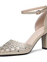 abordables -Femme Chaussures Paillette Brillante Eté / Automne Gladiateur / Escarpin Basique Chaussures à Talons Talon Bottier Or / Noir