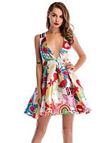 Недорогие -Жен. Классический А-силуэт С летящей юбкой Платье - Цветочный принт Выше колена