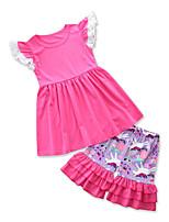 Недорогие -Дети Дети (1-3 лет) Девочки Однотонный С принтом Без рукавов Набор одежды