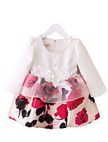 cheap -Girl's Daily Going out Floral Dress, Cotton Polyester Spring Fall Long Sleeves Cute Active White