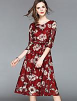 baratos -Mulheres Sofisticado Moda de Rua Evasê Bainha balanço Vestido - Renda Vazado Estampado, Floral Médio