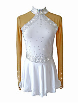 cheap -Figure Skating Dress Girls' Ice Skating Dress White Spandex Skating Wear Sequin Sleeveless Figure Skating