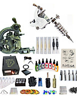 cheap -Tattoo Machine Starter Kit 1 carved machine liner & shader 1 alloy machine liner & shader Variable Speeds Adjustable LCD power supply 1 x